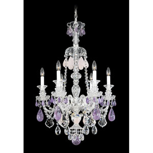 Hamilton Silver Six-Light Amethyst and Rose Rock Crystal Chandelier, 22W x 33.5H x 22D