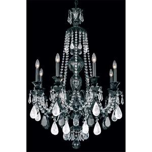 Hamilton Wet Black Eight-Light Chandelier with Rock Crystal