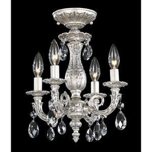 Milano Roman Silver Four-Light Clear Spectra Crystal Semi-Flush Light, 11.5W x 13.5H x 11.5D