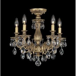 Milano Florentine Bronze Five-Light Clear Spectra Crystal Semi-Flush Light, 16W x 15.5H x 16D