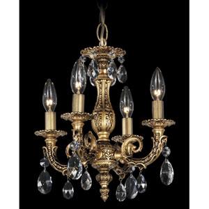 Milano Florentine Bronze Four-Light Clear Spectra Crystal Chandelier, 12W x 13H x 12D