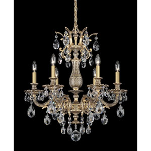 Milano Florentine Bronze Six-Light Clear Spectra Crystal Chandelier, 24W x 26.5H x 24D