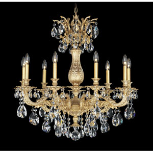 Milano Parchment Gold Nine-Light Clear Spectra Crystal Chandelier, 30W x 31H x 30D