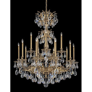 Milano Florentine Bronze 15-Light Clear Spectra Crystal Chandelier, 39W x 48.5H x 39D