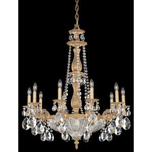 Milano French Gold 14-Light Clear Optic Handcut Crystal Chandelier, 30W x 36H x 30D