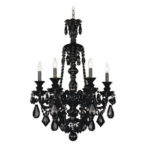 Hamilton Jet Black Six-Light Jet Black Heritage Handcut Crystal Chandelier, 22W x 33H x 22D