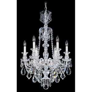 Hamilton Silver Six-Light Clear Heritage Handcut Crystal Chandelier, 22W x 33H x 22D