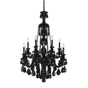 Hamilton Jet Black 12-Light Jet Black Heritage Handcut Crystal Chandelier, 30W x 44H x 30D