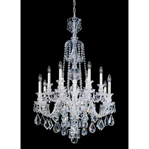 Hamilton Silver 12-Light Clear Heritage Handcut Crystal Chandelier, 30W x 44H x 30D