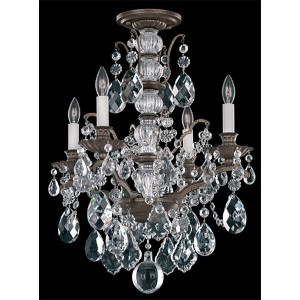 Bordeaux Textured Bronze Four-Light Semi-Flush Mount with Clear Legacy Crystal