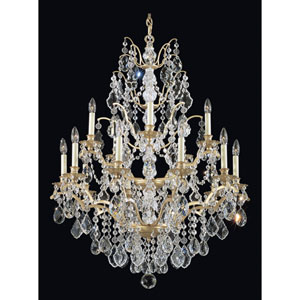 Bordeaux New French Gold 15-Light Clear Legacy Collection Chandelier, 32W x 40H x 32D