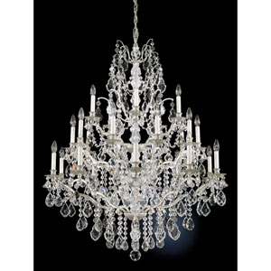 Bordeaux New Antique Silver 25-Light Clear Legacy Collection Chandelier, 40W x 48H x 40D