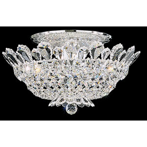 Trilliane Silver Eight-Light Crystal Swarovski Strass Semi-Flush Light, 19W x 9H x 19D