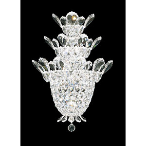 Trilliane Silver Four-Light Crystal Swarovski Strass Wall Sconce, 12.5W x 19H x 12.5D