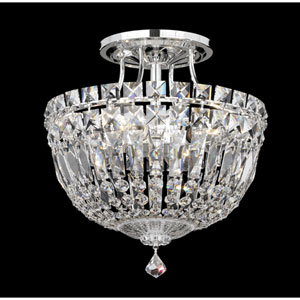 Petit Crystal Deluxe Silver Four-Light Clear Spectra Crystal Semi-Flush Light, 10W x 10H x 10D