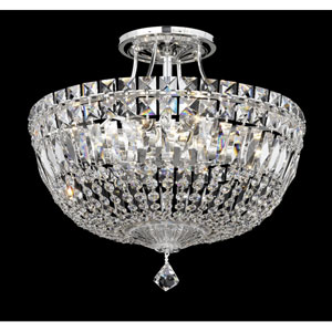 Petit Crystal Deluxe Silver Eight-Light Clear Spectra Crystal Semi-Flush Light, 14W x 13H x 14D
