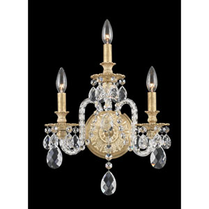 Isabelle Parchment Gold Three-Light Clear Optic Handcut Crystal Wall Sconce, 13W x 18.5H x 13D