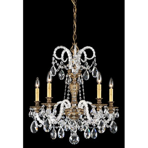 Isabelle Florentine Bronze Five-Light Clear Spectra Crystal Chandelier, 22W x 23.5H x 22D