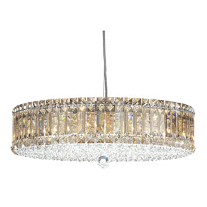 Plaza Stainless Steel 15-Light Golden Shadow Swarovski Strass Pendant Light, 21W x 6.5H x 21D