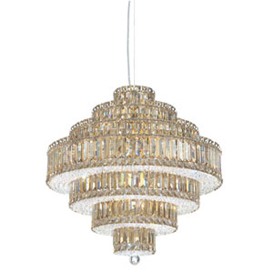 Plaza Stainless Steel 25-Light Golden Shadow Swarovski Strass Pendant Light, 24.5W x 25H x 24.5D