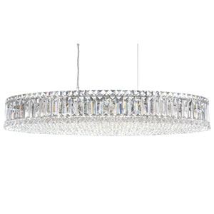Plaza Stainless Steel 16-Light Clear Spectra Crystal Pendant Light, 16W x 5H x 16D