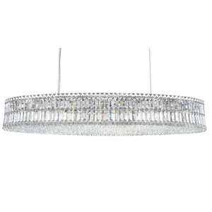 Plaza Stainless Steel 24-Light Clear Spectra Crystal Pendant Light, 22.5W x 7H x 22.5D