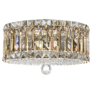 Plaza Stainless Steel Four-Light Golden Shadow Swarovski Strass Flush Mount Light, 12W x 7.5H x 12D