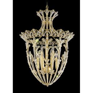 Rivendell New Heirloom Gold Nine-Light Crystal Swarovski Strass Pendant Light, 22W x 29H x 22D