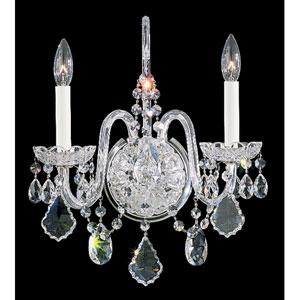 Olde World Silver Two-Light Crystal Swarovski Strass Wall Sconce, 14.5W x 16H x 14.5D