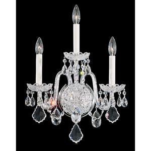 Olde World Silver Three-Light Crystal Swarovski Strass Wall Sconce, 14.5W x 20H x 14.5D