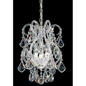 Olde World Silver Four-Light Crystal Swarovski Strass Chandelier, 11W x 17H x 11D
