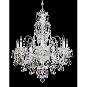 Olde World Silver Seven-Light Crystal Swarovski Strass Chandelier, 25W x 31H x 25D