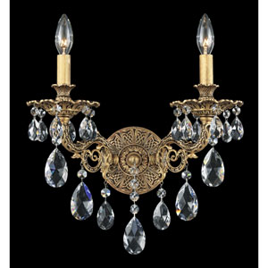 Sophia Florentine Bronze Two-Light Clear Spectra Crystal Wall Sconce, 13.5W x 16H x 13.5D
