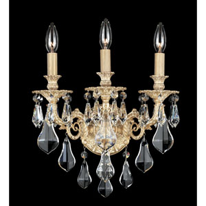 Sophia Parchment Gold Three-Light Clear Optic Handcut Crystal Wall Sconce, 13W x 15H x 13D