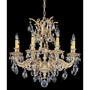 Sophia Parchment Gold Eight-Light Clear Spectra Crystal Chandelier, 26W x 26.5H x 26D