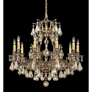 Sophia Florentine Bronze 10-Light Golden Shadow Heritage Handcut Crystal Chandelier, 31W x 30H x 31D