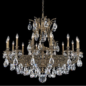 Sophia Midnight Gild 14-Light Clear Spectra Crystal Chandelier, 42W x 35H x 42D