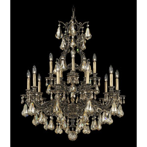 Sophia Florentine Bronze 15-Light Golden Shadow Heritage Handcut Crystal Chandelier, 31W x 37.5H x 31D
