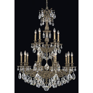 Sophia Midnight Gild 15-Light Clear Spectra Crystal Chandelier, 32W x 46.5H x 32D