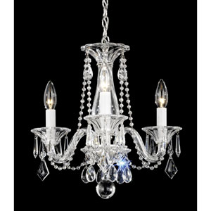 Allegro Silver Three-Light Clear Heritage Handcut Crystal Chandelier, 14W x 13H x 14D