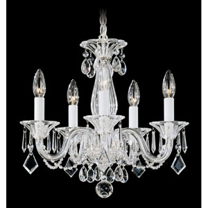 Allegro Silver Five-Light Clear Heritage Handcut Crystal Chandelier, 15W x 14H x 15D