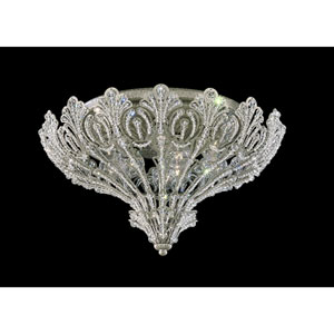 Rivendell New Antique Silver Nine-Light Crystal Swarovski Strass Flush Mount Light, 17W x 11H x 17D