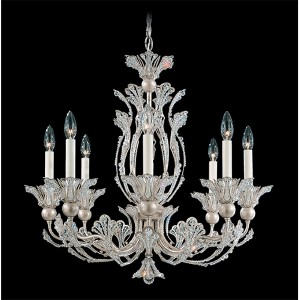 Rivendell Antique Silver Eight-Light Chandelier with Clear Swarovski Strass Crystal