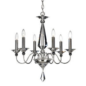 Jasmine Silver Six-Light Clear Optic Handcut Crystal Chandelier, 22.5W x 24H x 22.5D
