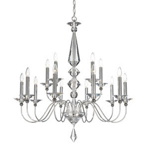 Jasmine Silver 15-Light Clear Optic Handcut Crystal Chandelier, 36W x 37.5H x 36D