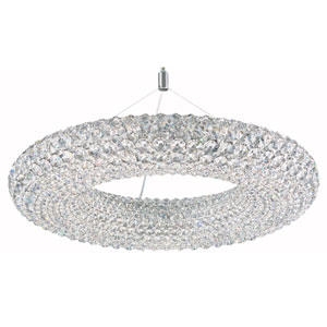 Cassini Stainless Steel 15-Light Clear Spectra Crystal Pendant Light, 25W x 13H x 25D