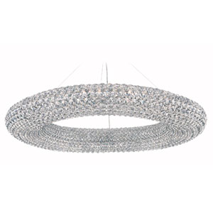 Cassini Stainless Steel 28-Light Clear Spectra Crystal Pendant Light, 39W x 5.5H x 39D