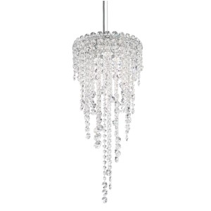 Chantant Stainless Steel Three-Light Round Medium Pendant with Clear Heritage Crystal