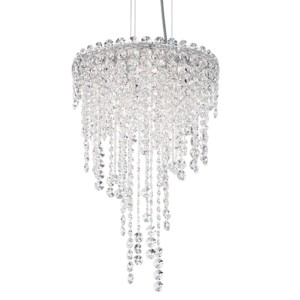 Chantant Stainless Steel Four-Light Round Short Pendant with Clear Heritage Crystal