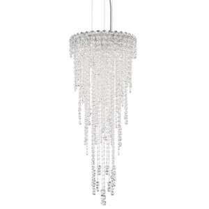Chantant Stainless Steel Four-Light Round Medium Pendant with Clear Heritage Crystal